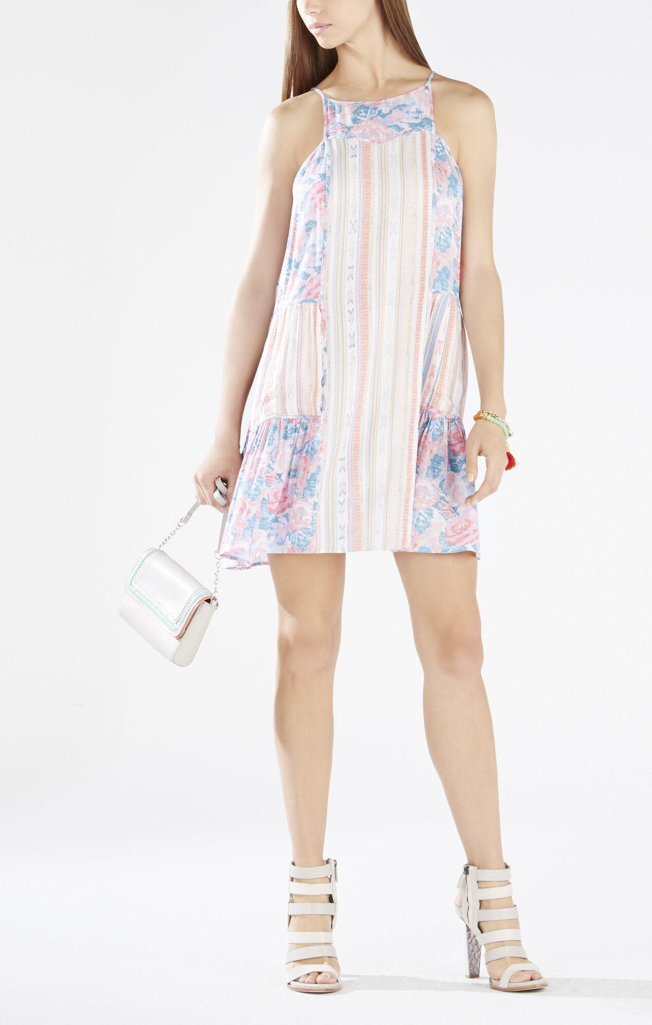 Lydea Print-Blocked A-Line Slip Dress