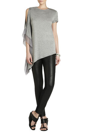 Laguna One-Sleeve Stretch-Tulle Contrast Top