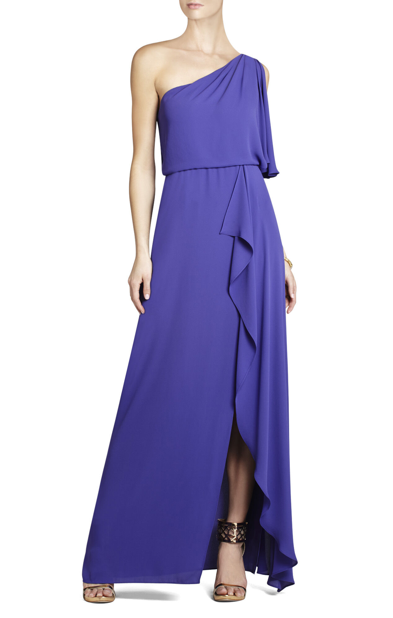 Kendal One-Shoulder Ruffled Evening Gown