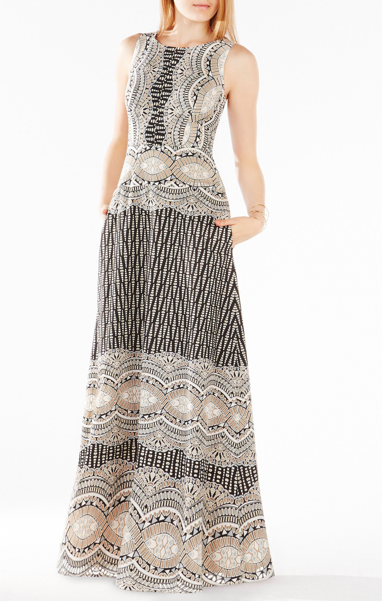 Brigetta Burnout Deco Print Mesh Gown