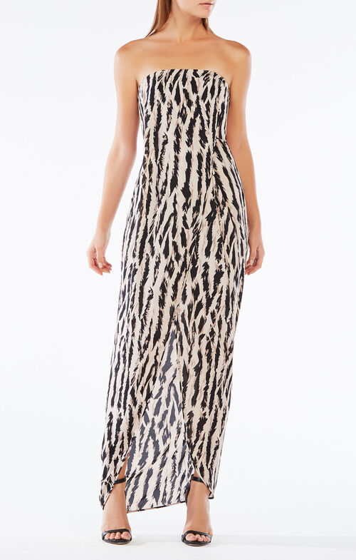 Jesse Strapless Animal Print Gown