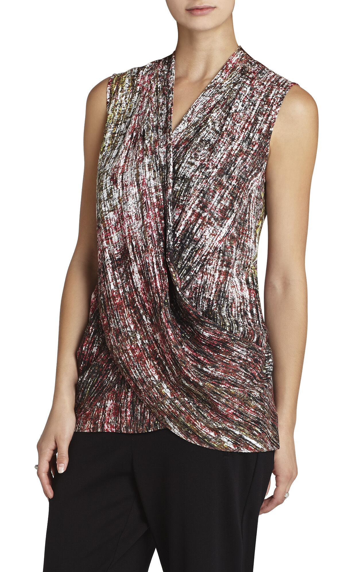 Doris Sleeveless Draped-Crisscross Tank