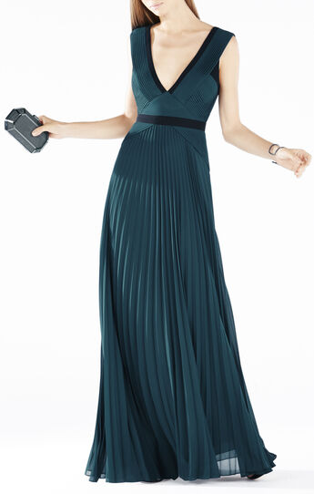 Evianna Color-Blocked Pleated Gown