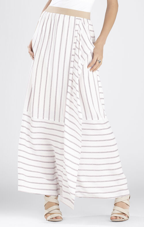 Haleigh Printed Side-Drape Stripe-Blocked Skirt