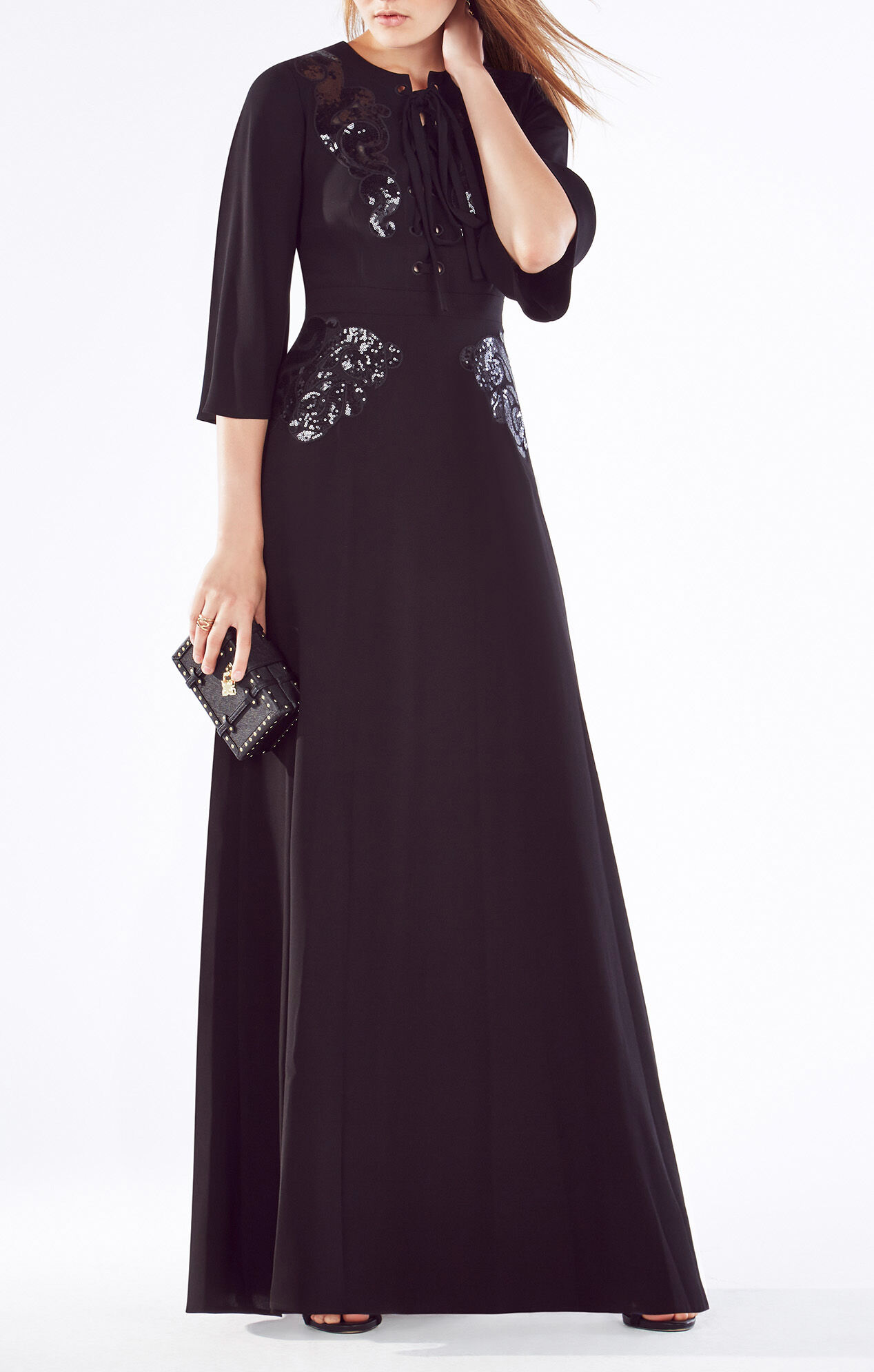 Sharlene Sequined Lace-Up Gown
