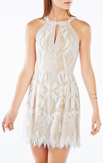 Megyn Halter-Neck Deco Lace Dress