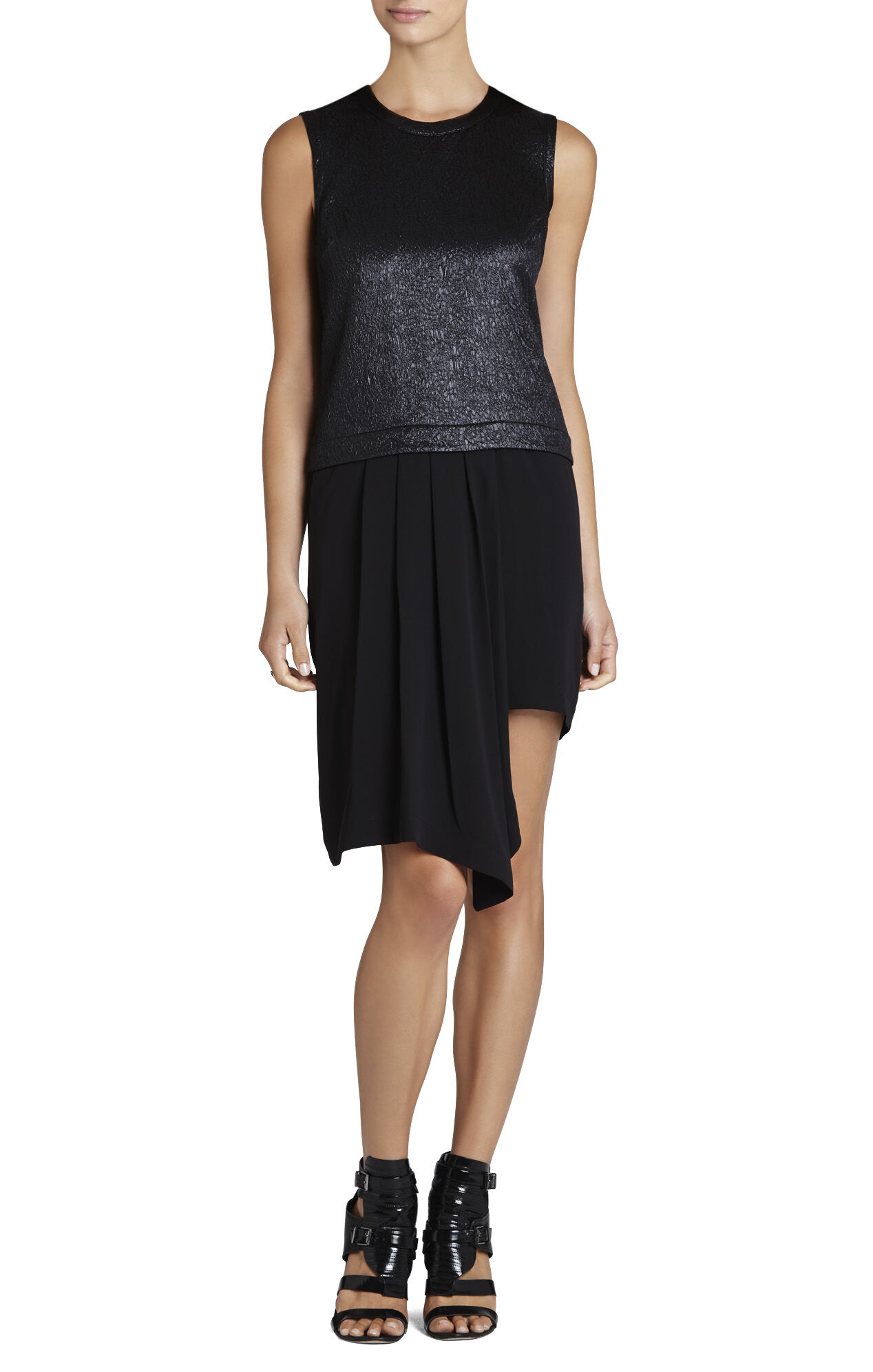 Juliane Ruffle Asymmetrical Pleated-Drape Dress