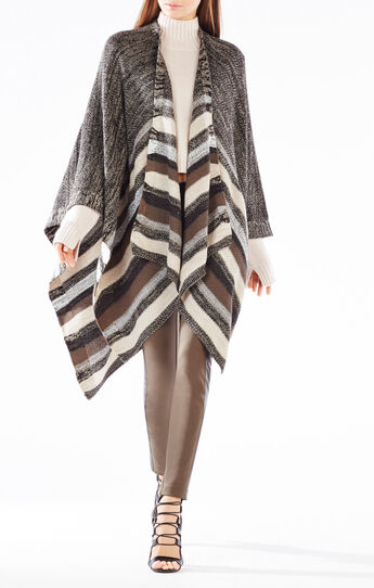 Multicolored Striped Poncho