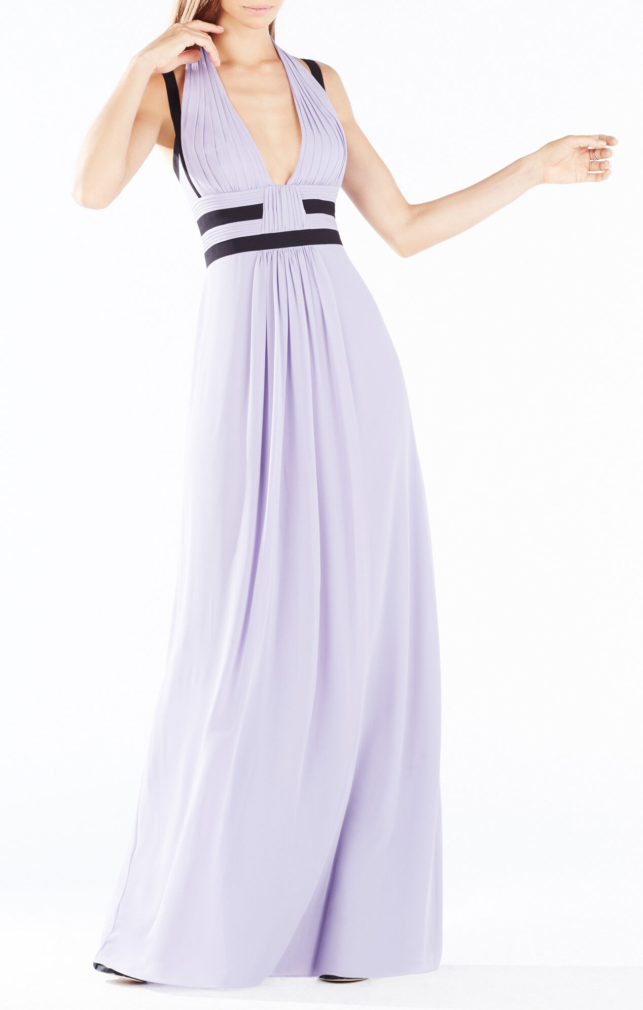 Margarette Contrast Trim Pleated Gown