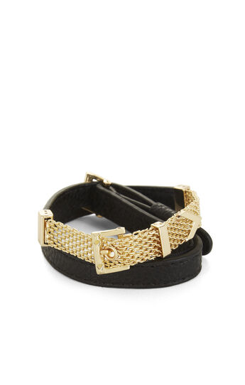Faux-Leather Metal Mesh Wrap Bracelet