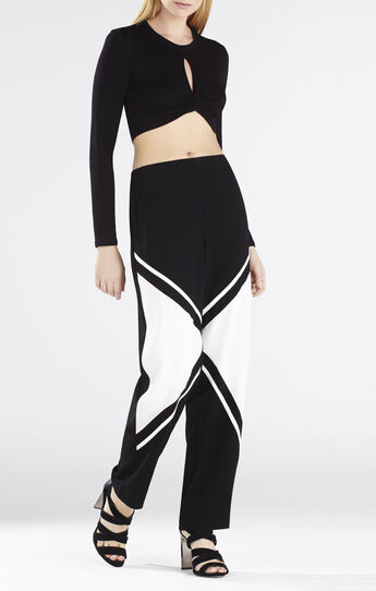 Taelor Long-Sleeve Twisted Crop Top