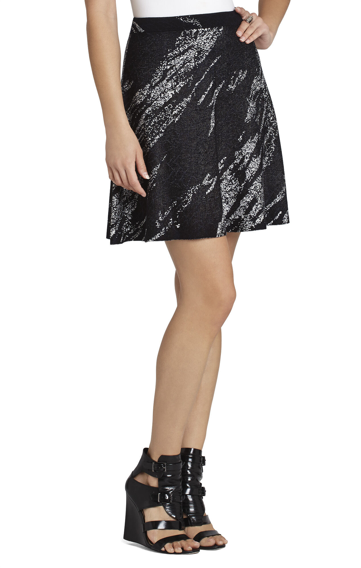 Karlie Crackled-Jacquard A-Line Skirt