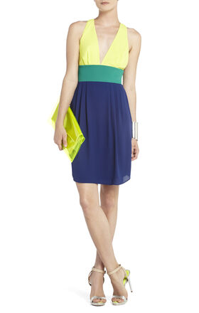 Katie Short V-Neck Color-Blocked Dress