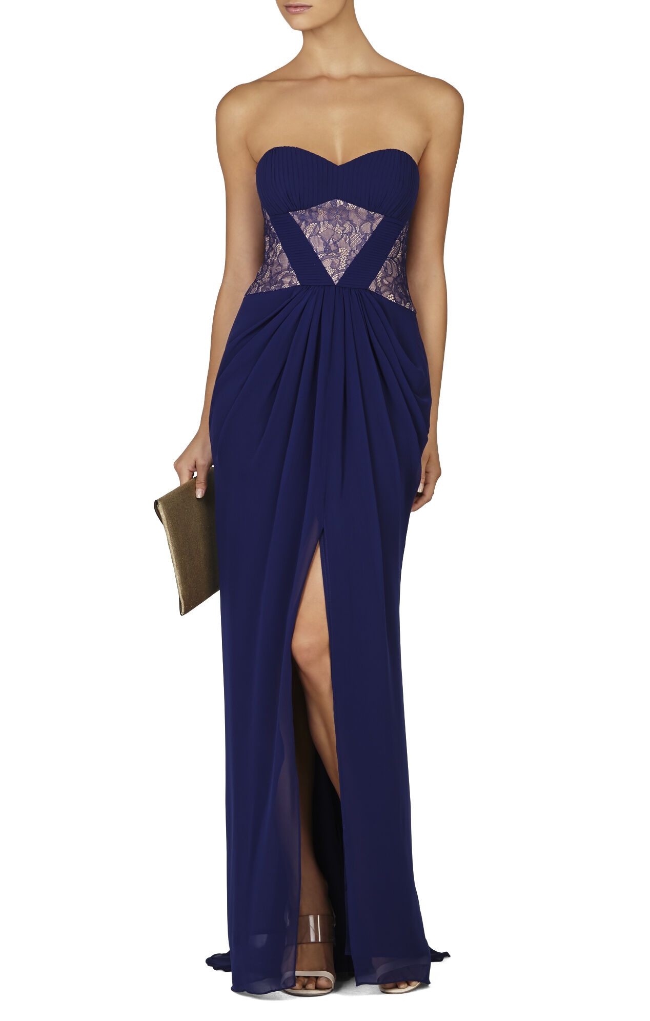Natalea Strapless Ruched-Bodice Gown