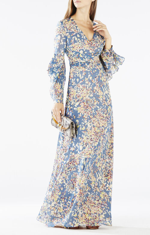 Beverle Long-Sleeve Printed Gown