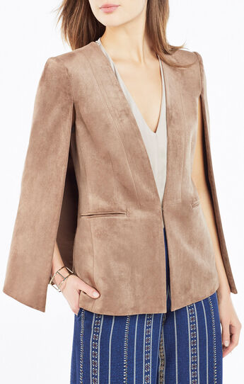 Upas Faux-Suede Cape Jacket