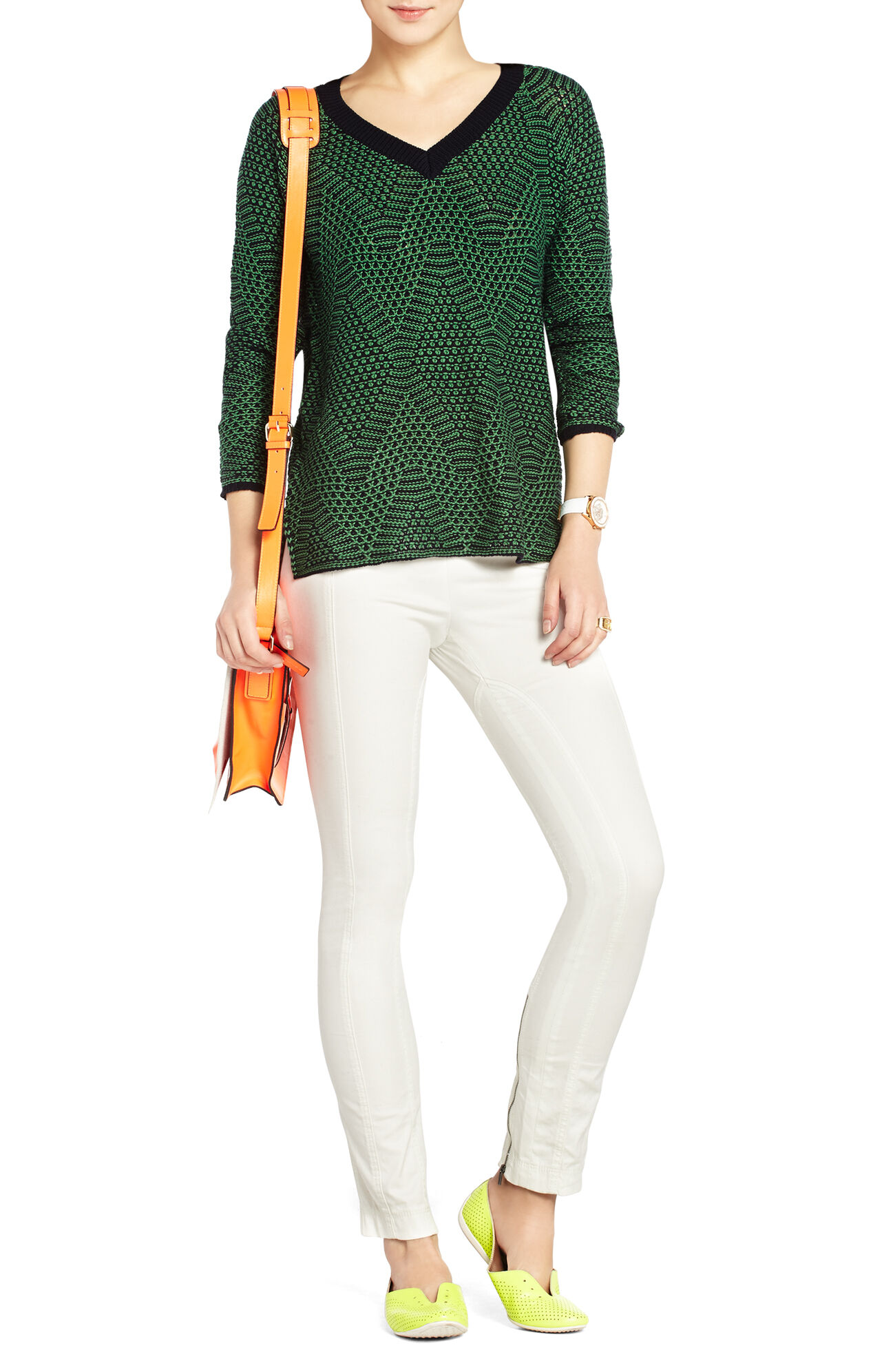 Emmy V-Neck Jacquard Sweater