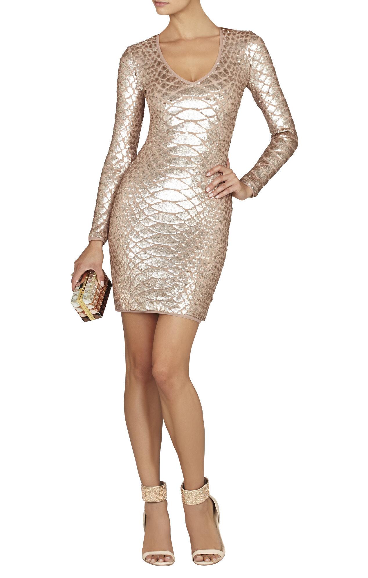Sabryna Long-Sleeve Python Sequin Dress