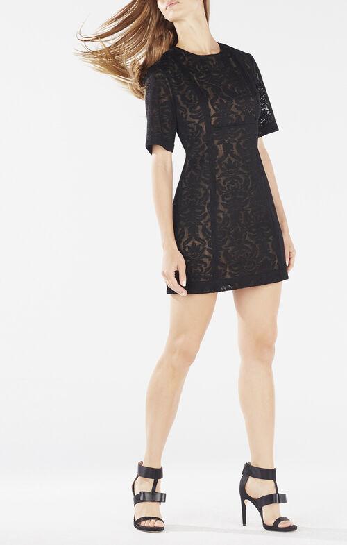 Ceara Wide-Sleeve Lace Dress