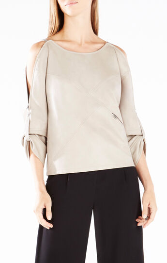 Bett Shoulder-Zip Faux-Leather Top