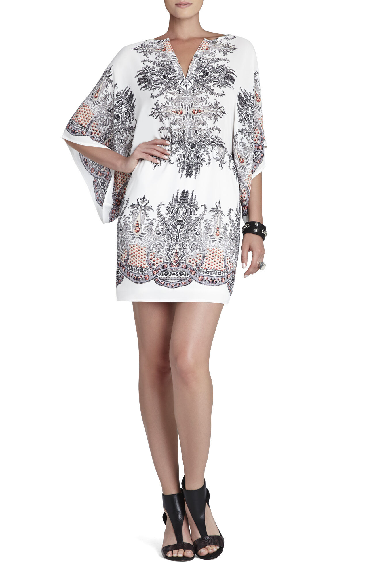 Pauline Drape-Sleeve Printed Dress
