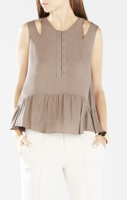 Alexys Cutout-Shoulder Peplum Top