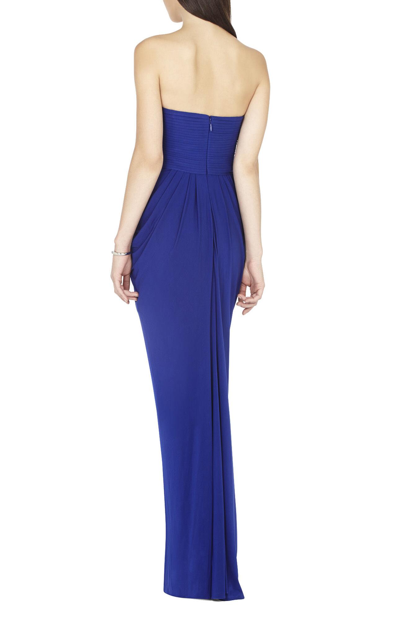 Simona Strapless Draped High-Slit Gown