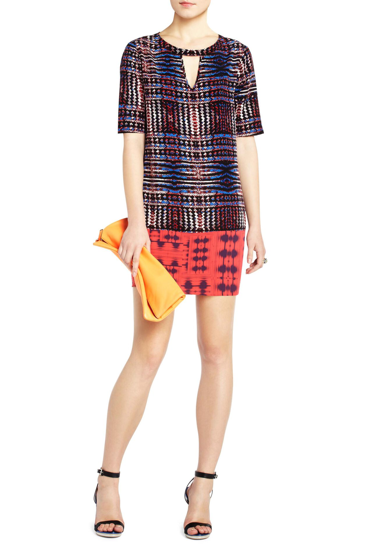 Andie Print-Block Silk Shift Dress