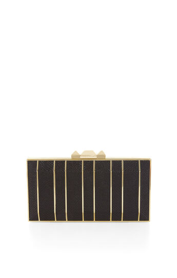 Estela Striped Snakeskin Faux-Leather Clutch