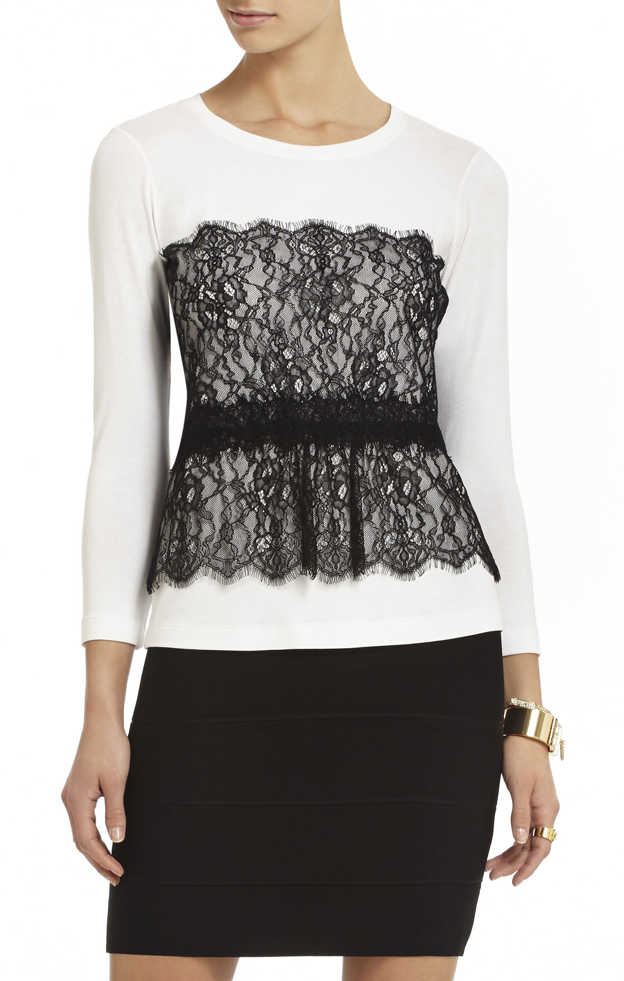Louise Lace-Overlay Top