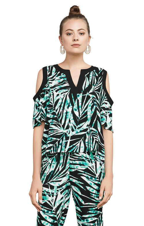 Ardell Palms-Print Cold-Shoulder Top
