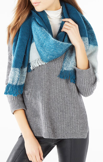 Brushed Color-Blocked Wrap Scarf