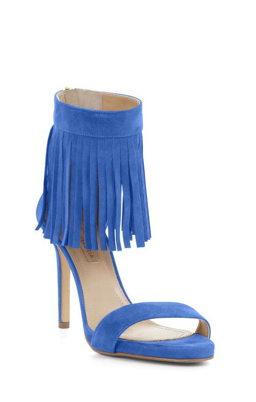 High-Heel Suede Fringe Ankle Sandal