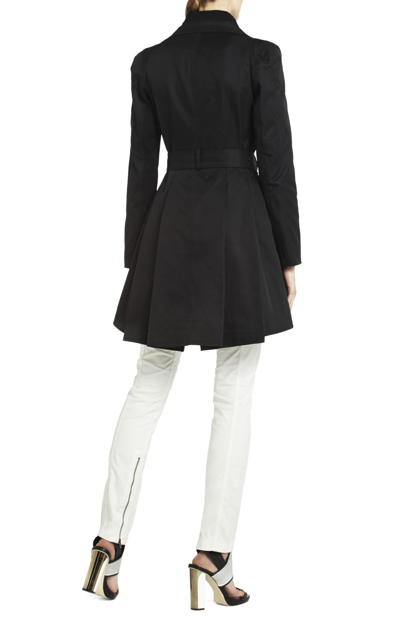 Sophia Funnel-Neck Pleated Coat