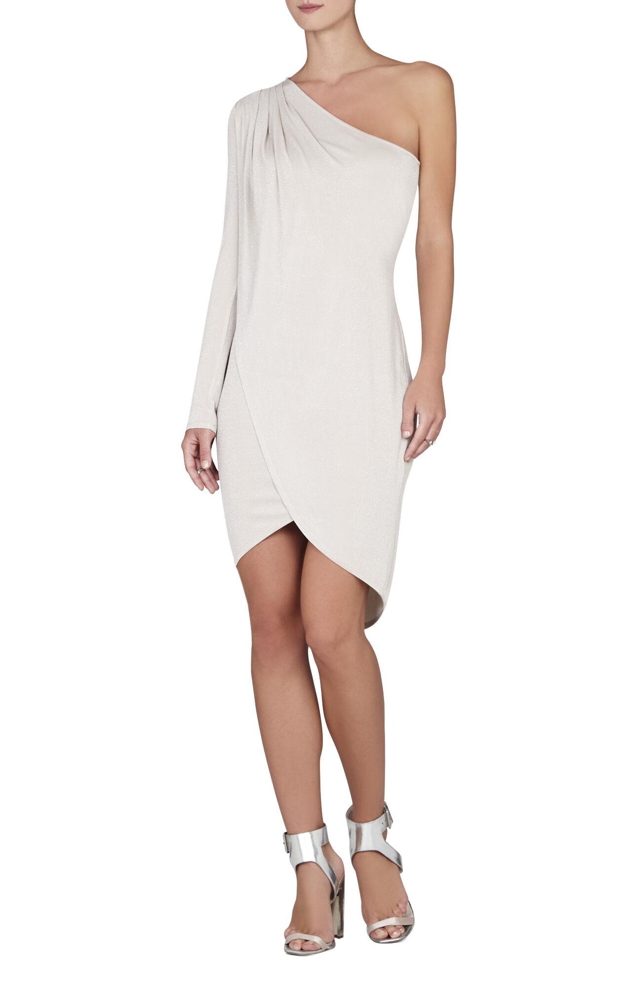 Jolee One-Shoulder Pleated Tulip-Hem Dress