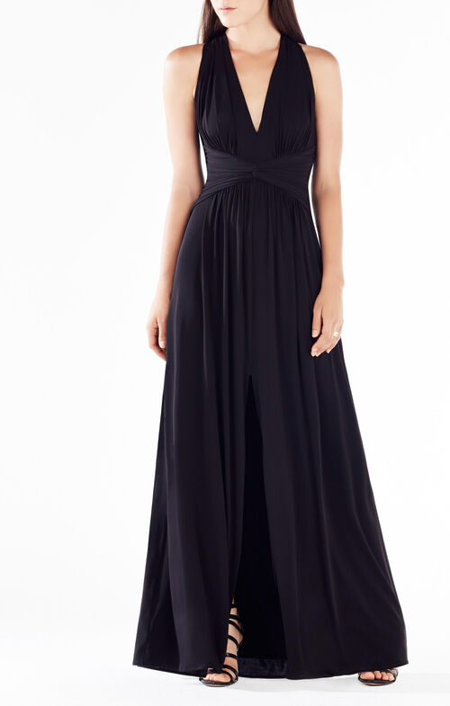 Danicka Deep-V Open-Back Gown