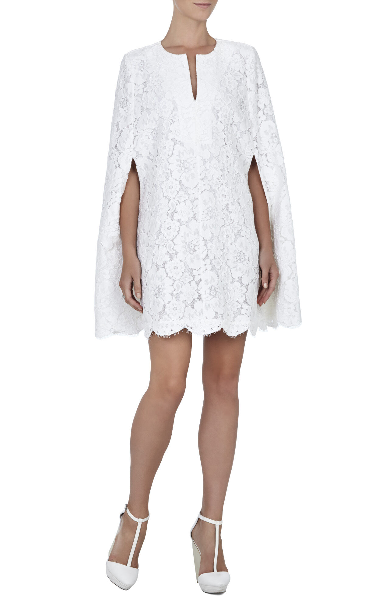 BCBG Max Azria Lace Cape Dress - popsugar.com
