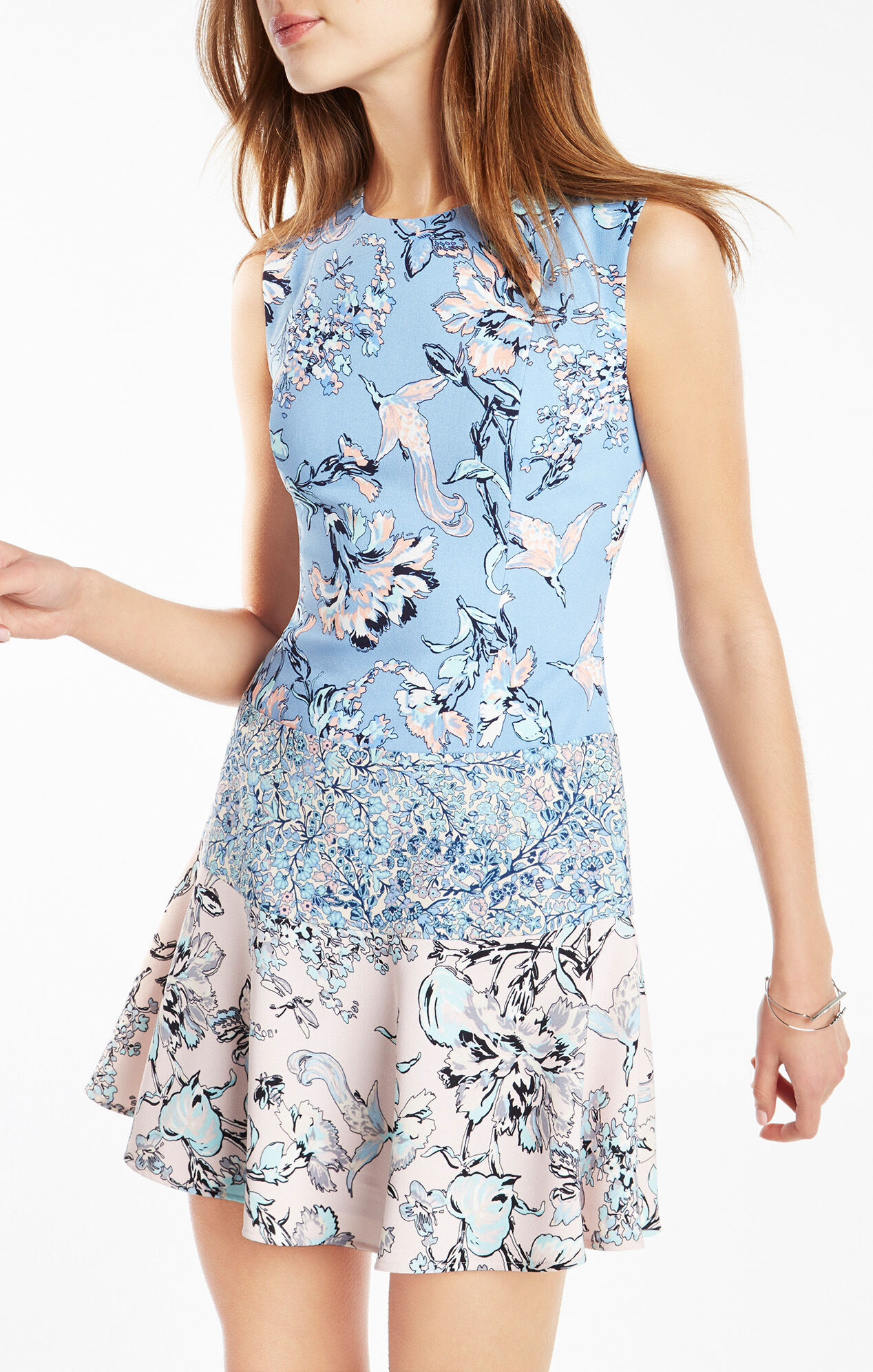 Lillian Floral Print-Blocked Dress
