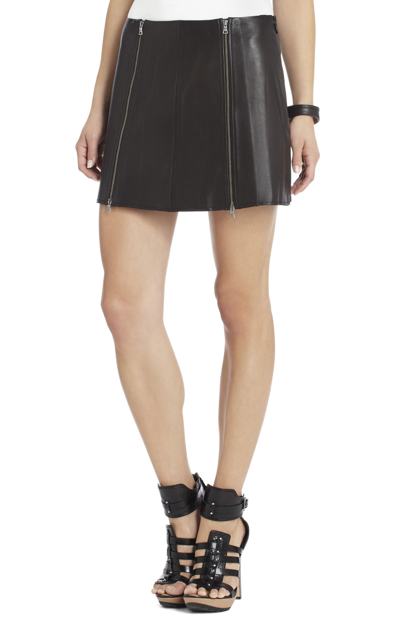 Myra Double-Zipped Leather Skirt