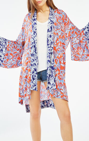Tildie Ikat Scrolls Print Kimono Top