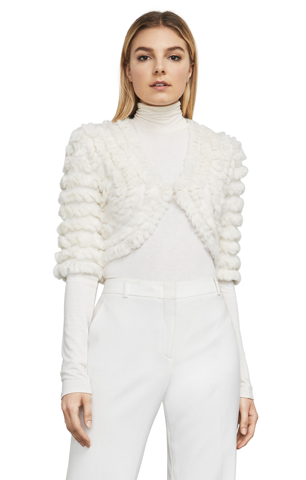 Peyton Elbow-Sleeve Fur Shrug