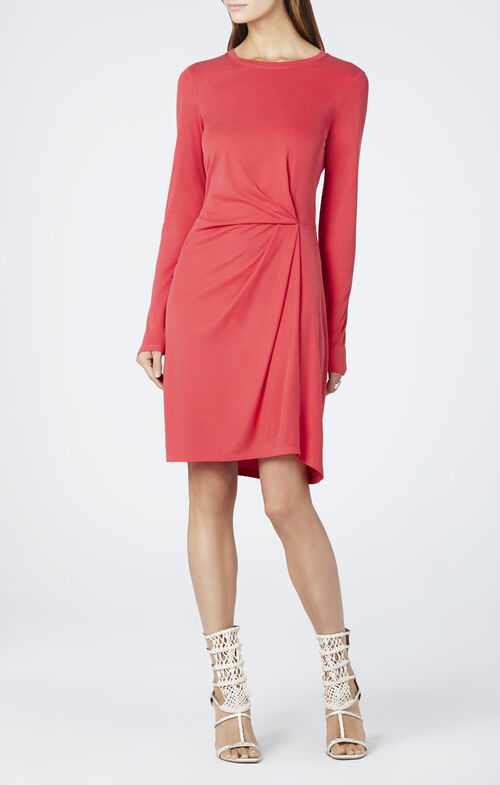 Roxie Front Tuck Pleat Long-Sleeve Dress
