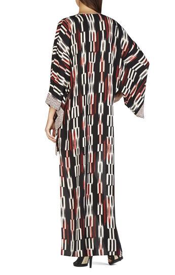 Norina Print-Blocked Hi-Lo Kimono-Sleeve Dress