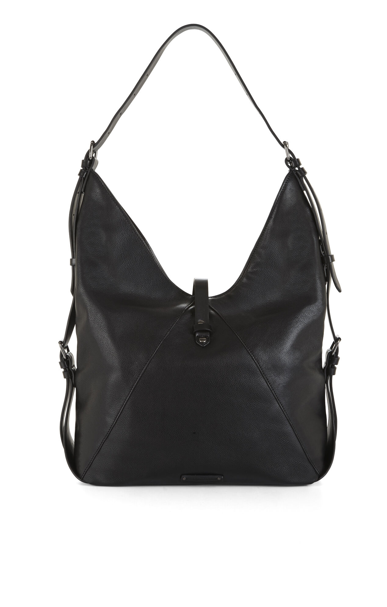Drew Buckle-Strap Leather Hobo
