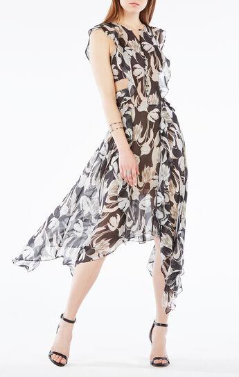 Jann Tulip Print Cutout Silk Dress
