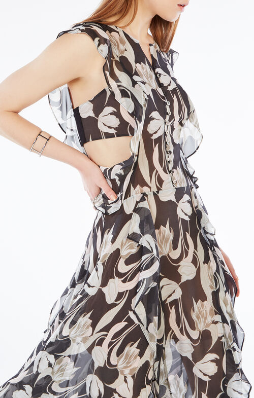 Jann Tulip Print Cutout Silk Dress
