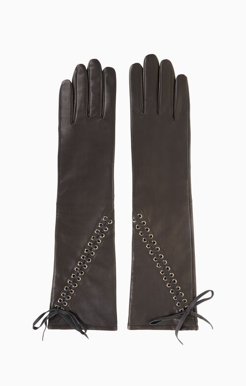 Lace-Up Leather Gloves