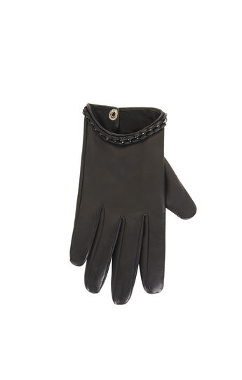 Whipstitch Chain Leather Gloves