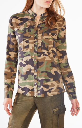 Anderson Camouflage Silk Button-Up Top