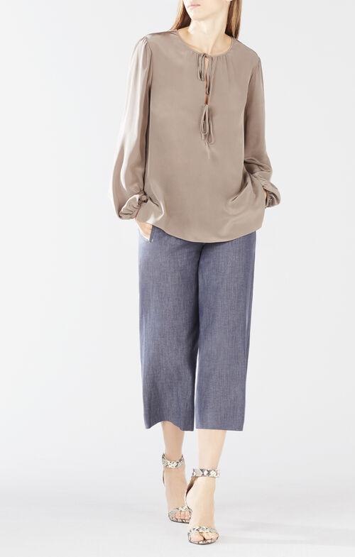 Evanna Double-Tie Peasant Blouse